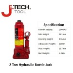 JeTech® 2 ton Hydraulic Bottle Floor Jack,Model: HBJ-2,